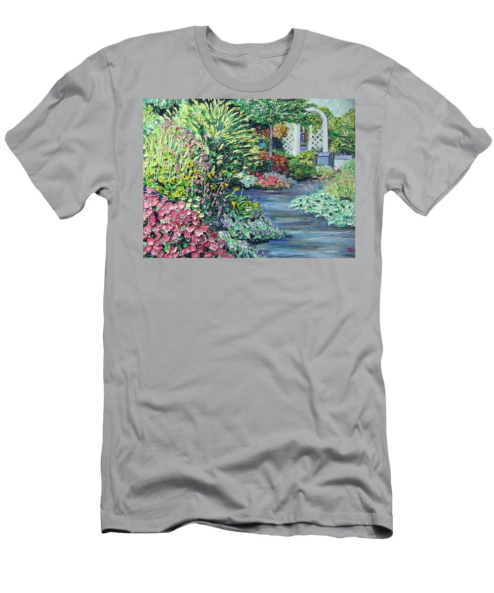 Garden Men's T-Shirt (Athletic Fit) featuring the painting Amelia Park Pathway by Richard Nowak