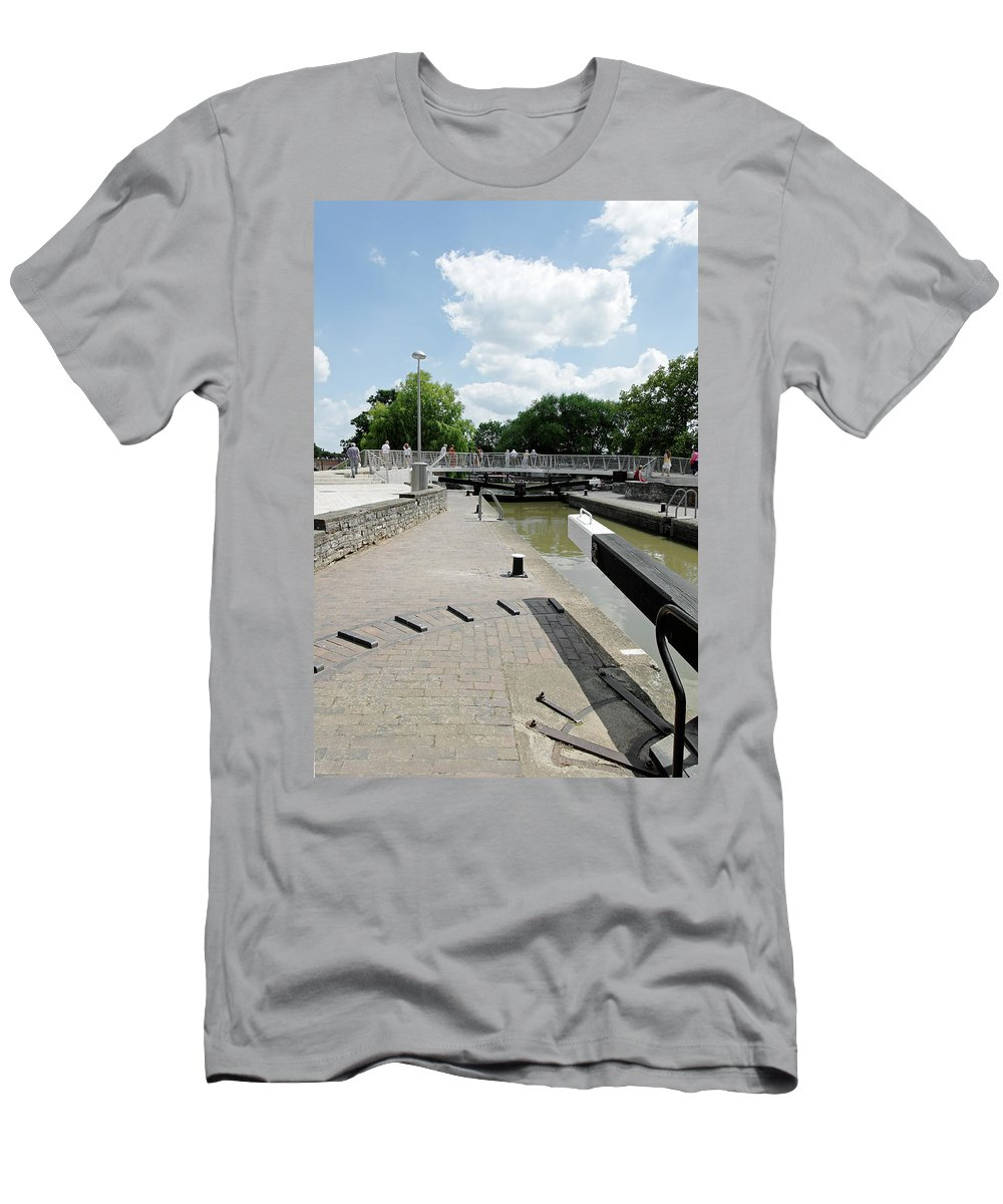 Europe Men's T-Shirt (Athletic Fit) featuring the photograph Bancroft Basin - Canal Lock by Rod Johnson