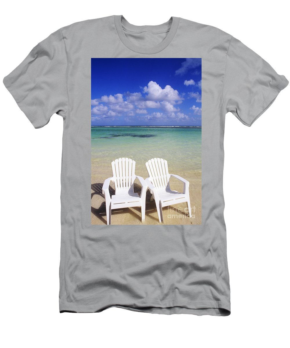Ashore Men's T-Shirt (Athletic Fit) featuring the photograph Beach Chairs by Bill Bachmann - Printscapes