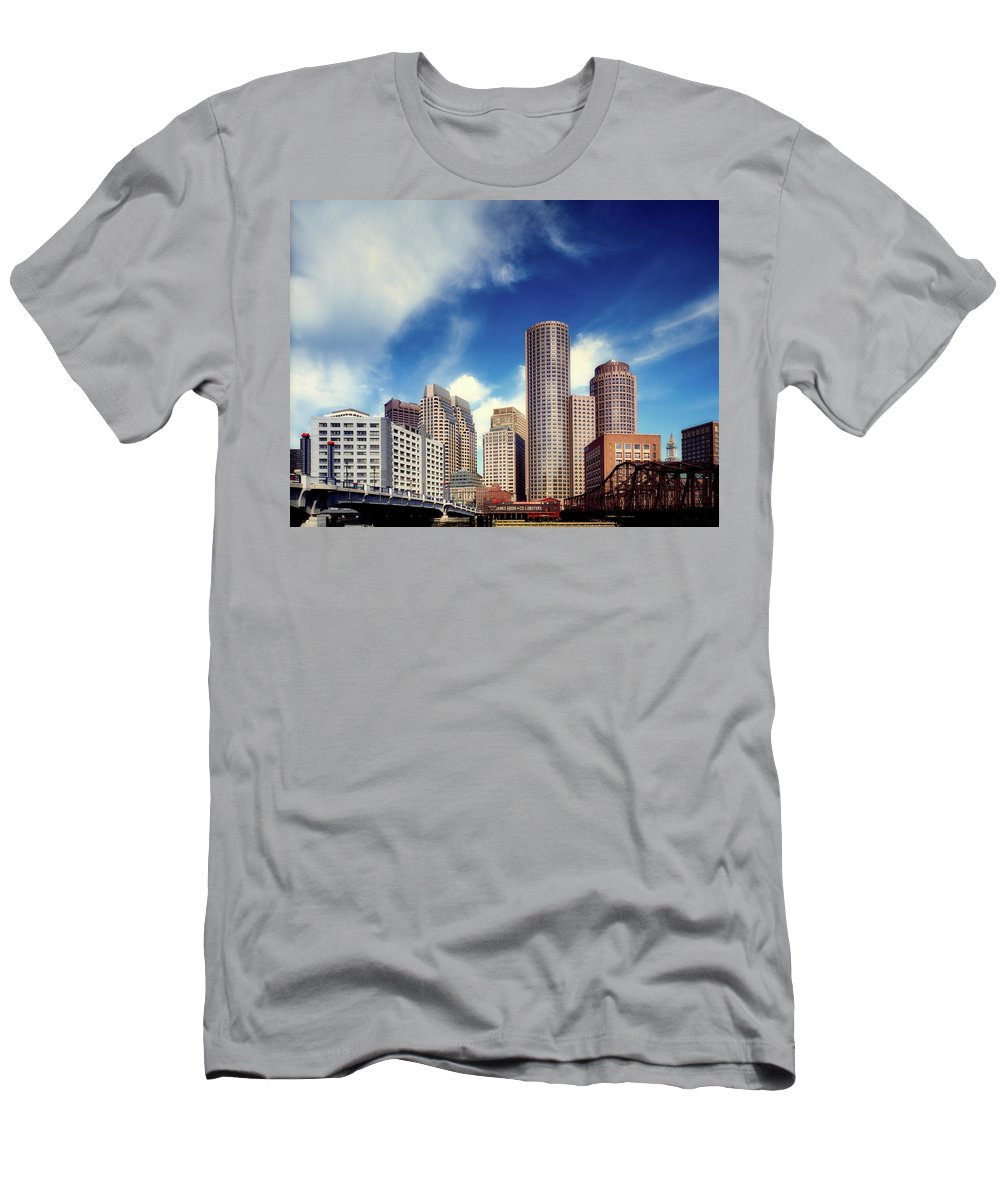 Boston Men's T-Shirt (Athletic Fit) featuring the photograph Boston Skyline 1980s by Mountain Dreams