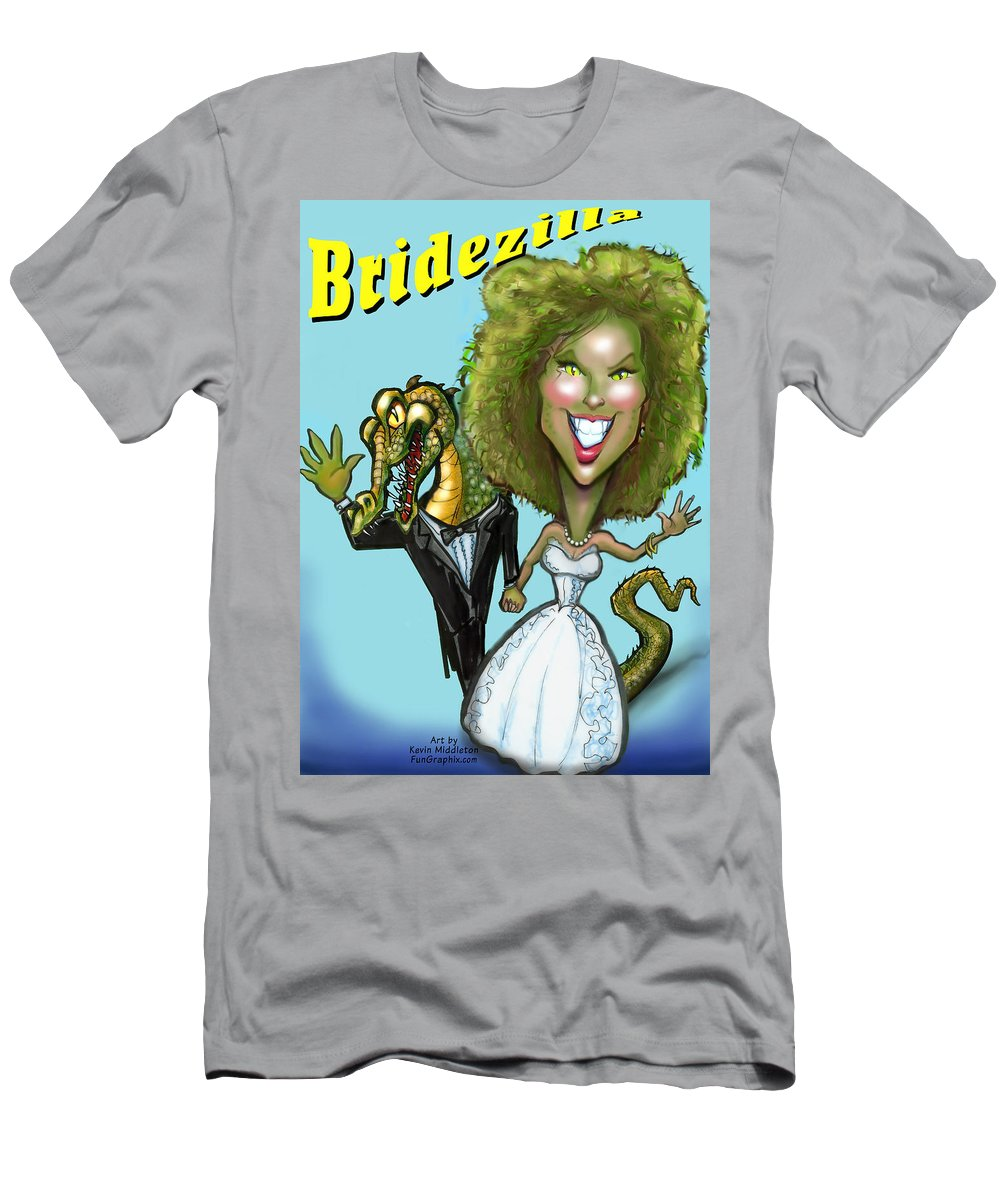 Bridezilla Men's T-Shirt (Athletic Fit) featuring the greeting card Bridezilla by Kevin Middleton