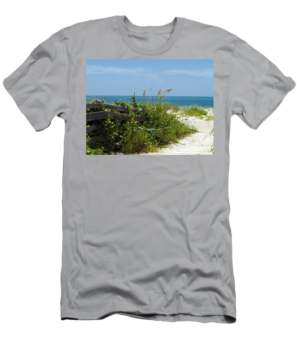 Florida; Beach; Ocean; Waves; Wave; Surf; Sand; Sandy; Coast; Shore; Atlantic; Cape; Canaveral; Scen Men's T-Shirt (Athletic Fit) featuring the photograph Cape Canaveral Florida by Allan Hughes