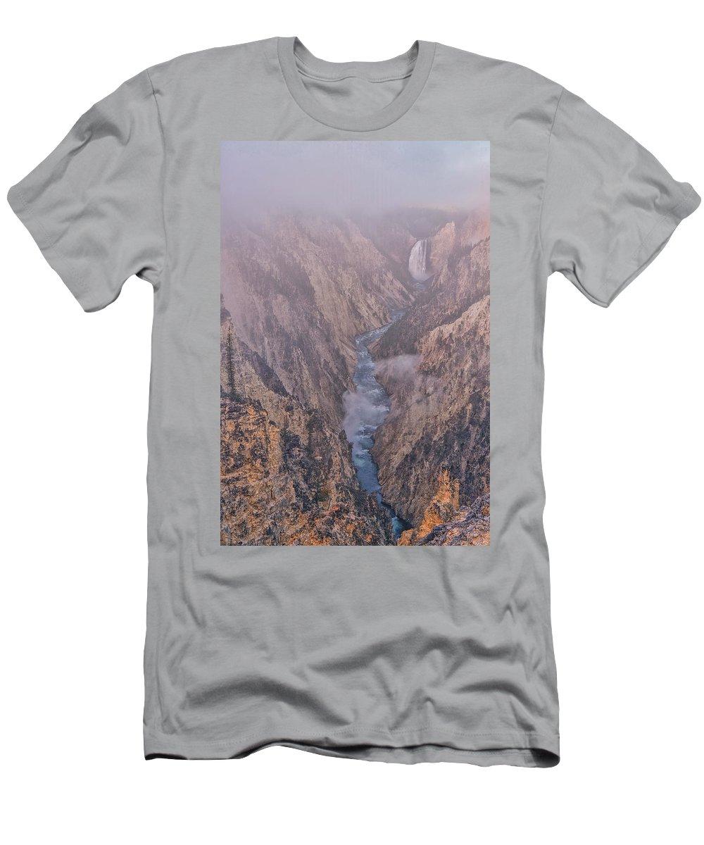 Luis Ramirez Men's T-Shirt (Athletic Fit) featuring the photograph Classic Lower Falls by Luis A Ramirez