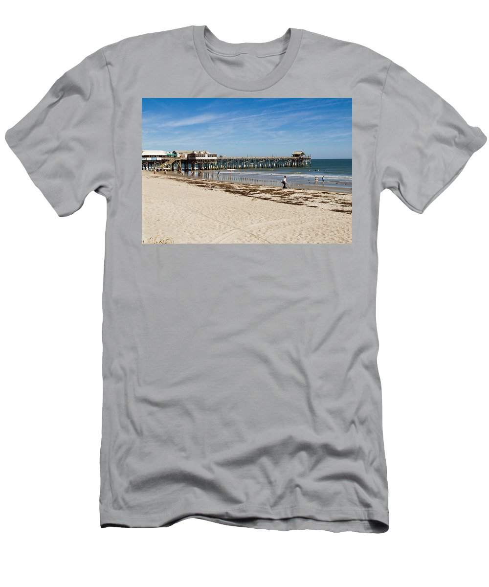 Florida; Cocoa; Beach; Atlantic; Ocean; East; Space; Coast; Brevard; Central; Pier; Surf; Surfing; F Men's T-Shirt (Athletic Fit) featuring the photograph Cocoa Beach In Florida by Allan Hughes