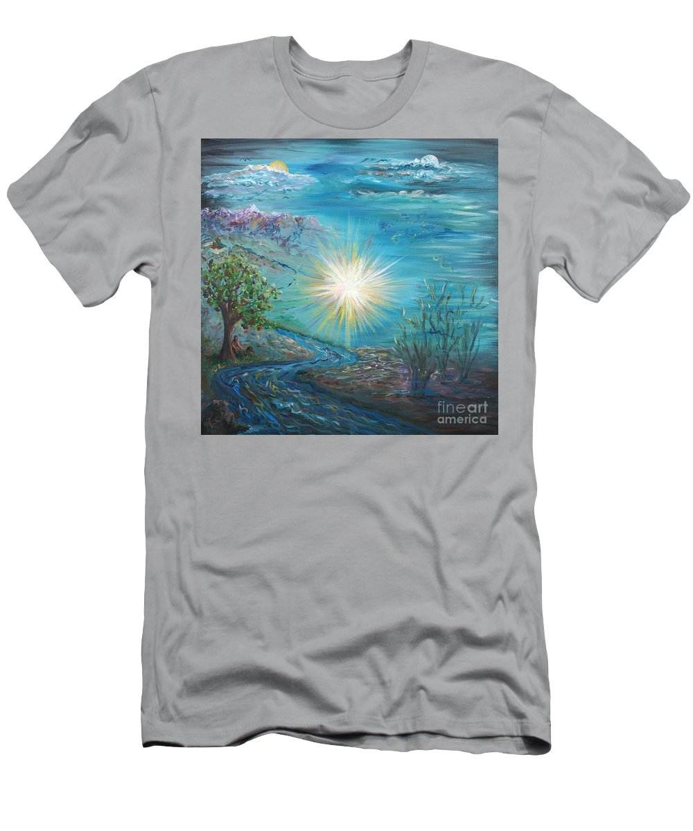 Creation Men's T-Shirt (Athletic Fit) featuring the painting Creation by Nadine Rippelmeyer