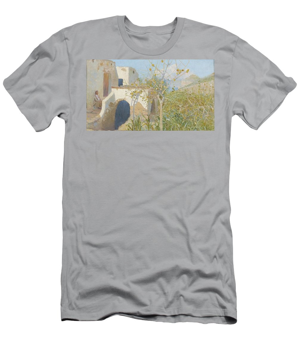 Lotten RÖnquist 1864-1912 Designs By Capri 2 Men's T-Shirt (Athletic Fit) featuring the painting Designs By Capri by MotionAge Designs