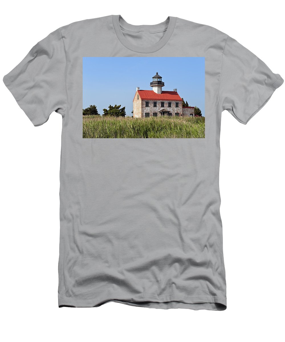 Deleware Bay Men's T-Shirt (Athletic Fit) featuring the photograph East Point Lighthouse by John Greim