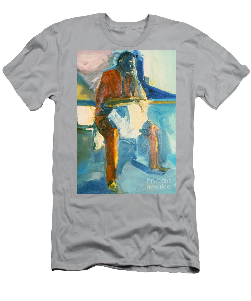 Oil Painting On Paper Men's T-Shirt (Athletic Fit) featuring the painting Ernie by Daun Soden-Greene
