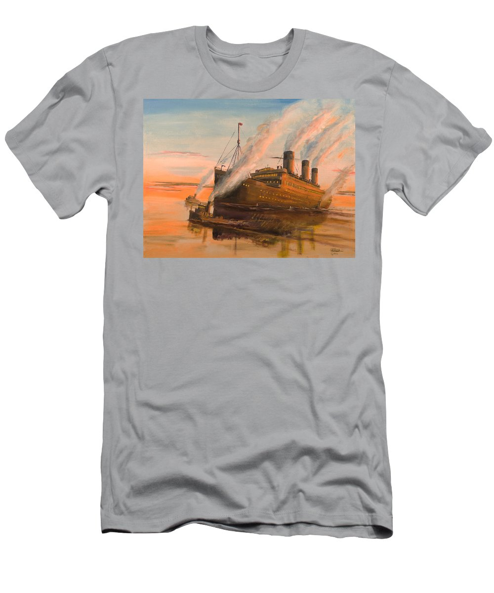 Ship Men's T-Shirt (Athletic Fit) featuring the painting Evening Departure by Christopher Jenkins
