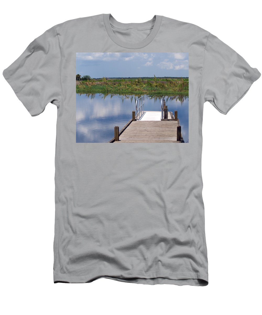 Florida; River; St; Johns; Saint; John; Flow; Flows; North; South Direction; Flowing; Current; Backw Men's T-Shirt (Athletic Fit) featuring the photograph Florida Backwater by Allan Hughes