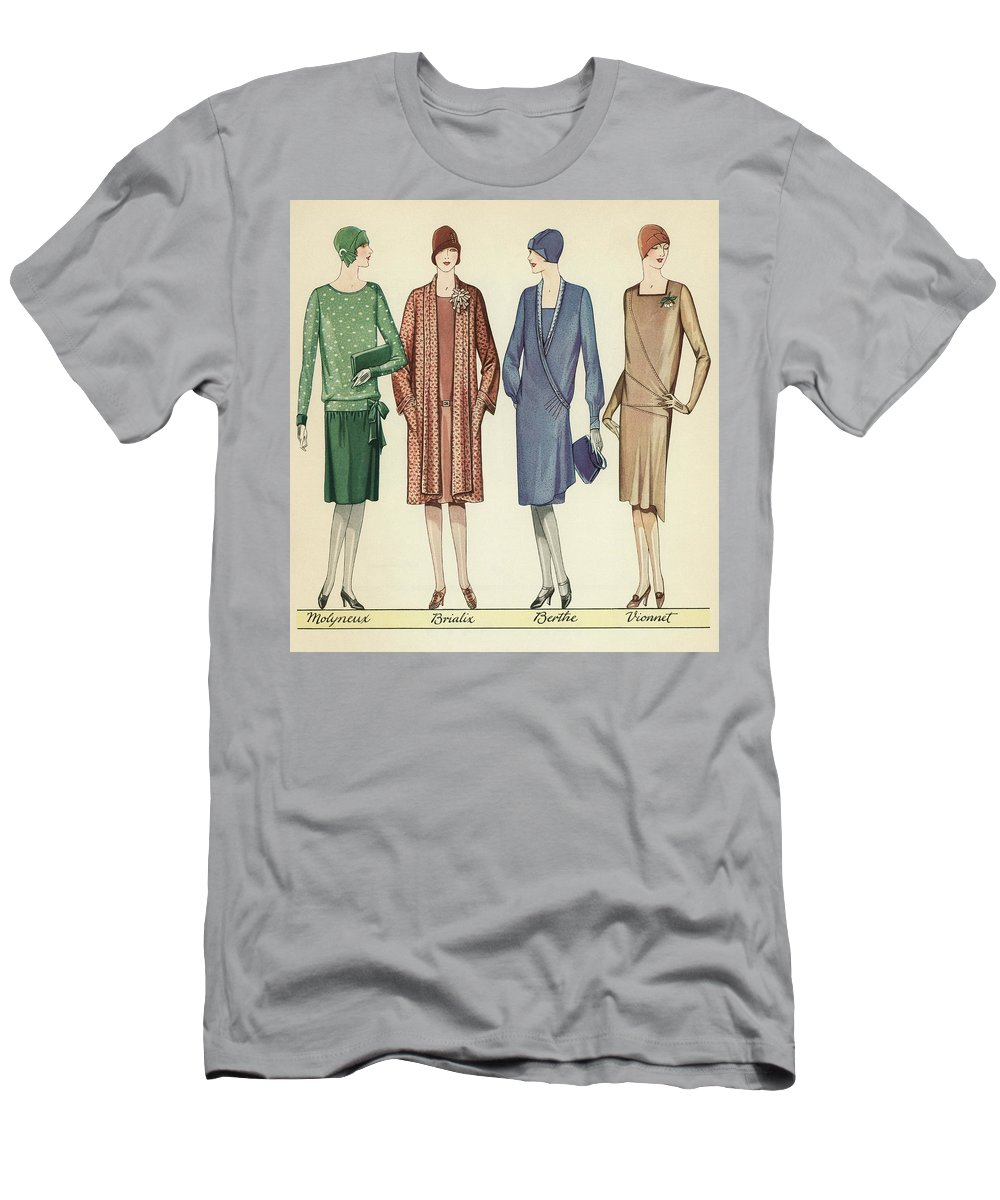 Flapper Men's T-Shirt (Athletic Fit) featuring the painting Four Flappers Modelling French Designer Outfits, 1928 by American School