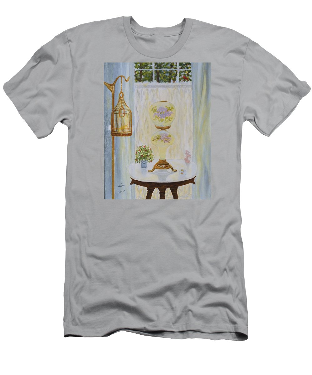 A Few Favorite Antiques Men's T-Shirt (Athletic Fit) featuring the painting Gone With The Wind Lamp by Douglas Ann Slusher