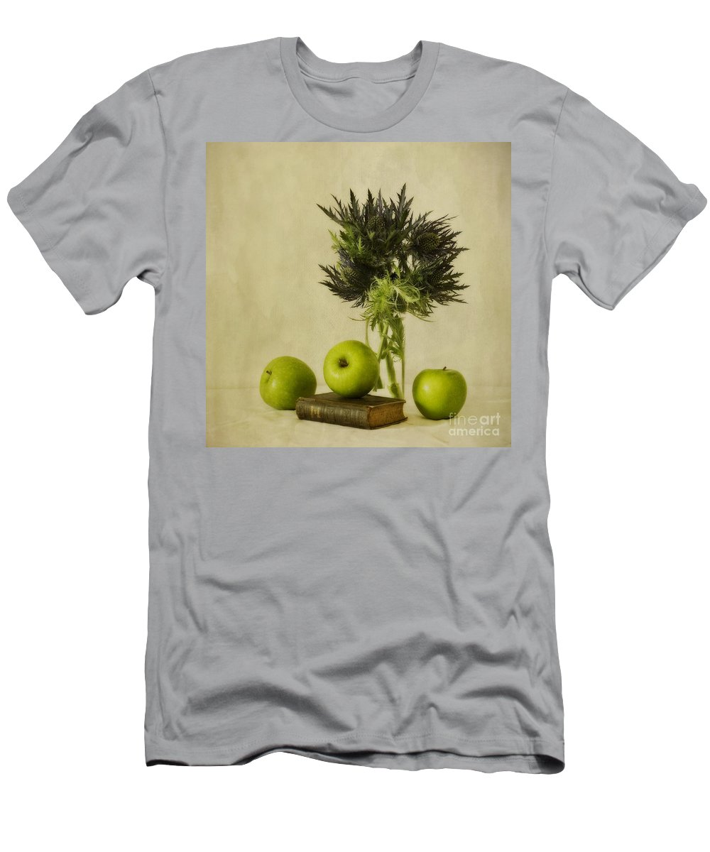 Apples Men's T-Shirt (Athletic Fit) featuring the photograph Green Apples And Blue Thistles by Priska Wettstein