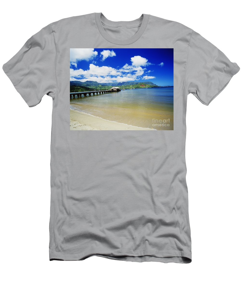 Bali Hai Men's T-Shirt (Athletic Fit) featuring the photograph Hanalei Bay With Pier by Peter French - Printscapes