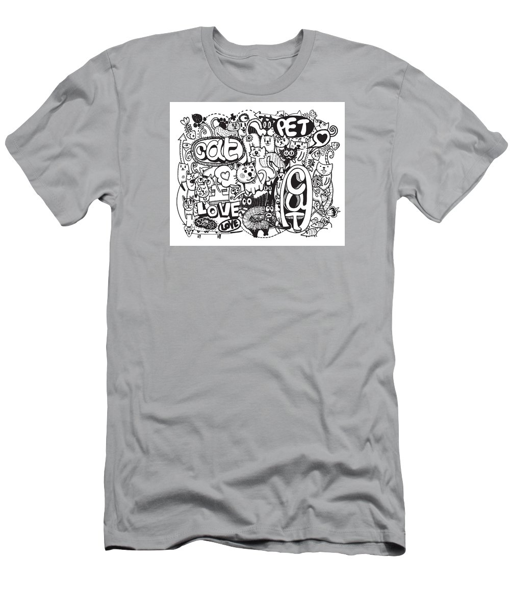 Sketch Mens T Shirt Athletic Fit Featuring The Digital Art Hipster Cat Doodles