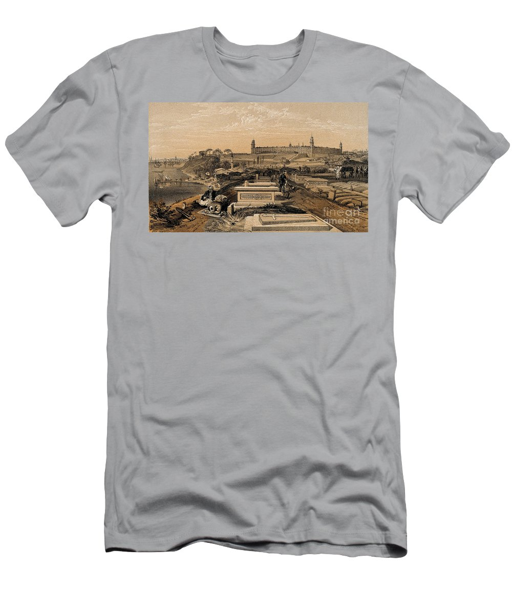Historic Men's T-Shirt (Athletic Fit) featuring the photograph Hospital And Cemetery At Scutari, C.1854 by Wellcome Images
