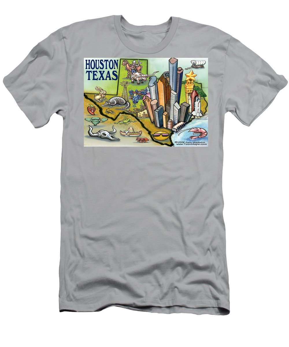 Houston Men's T-Shirt (Athletic Fit) featuring the digital art Houston Texas Cartoon Map by Kevin Middleton