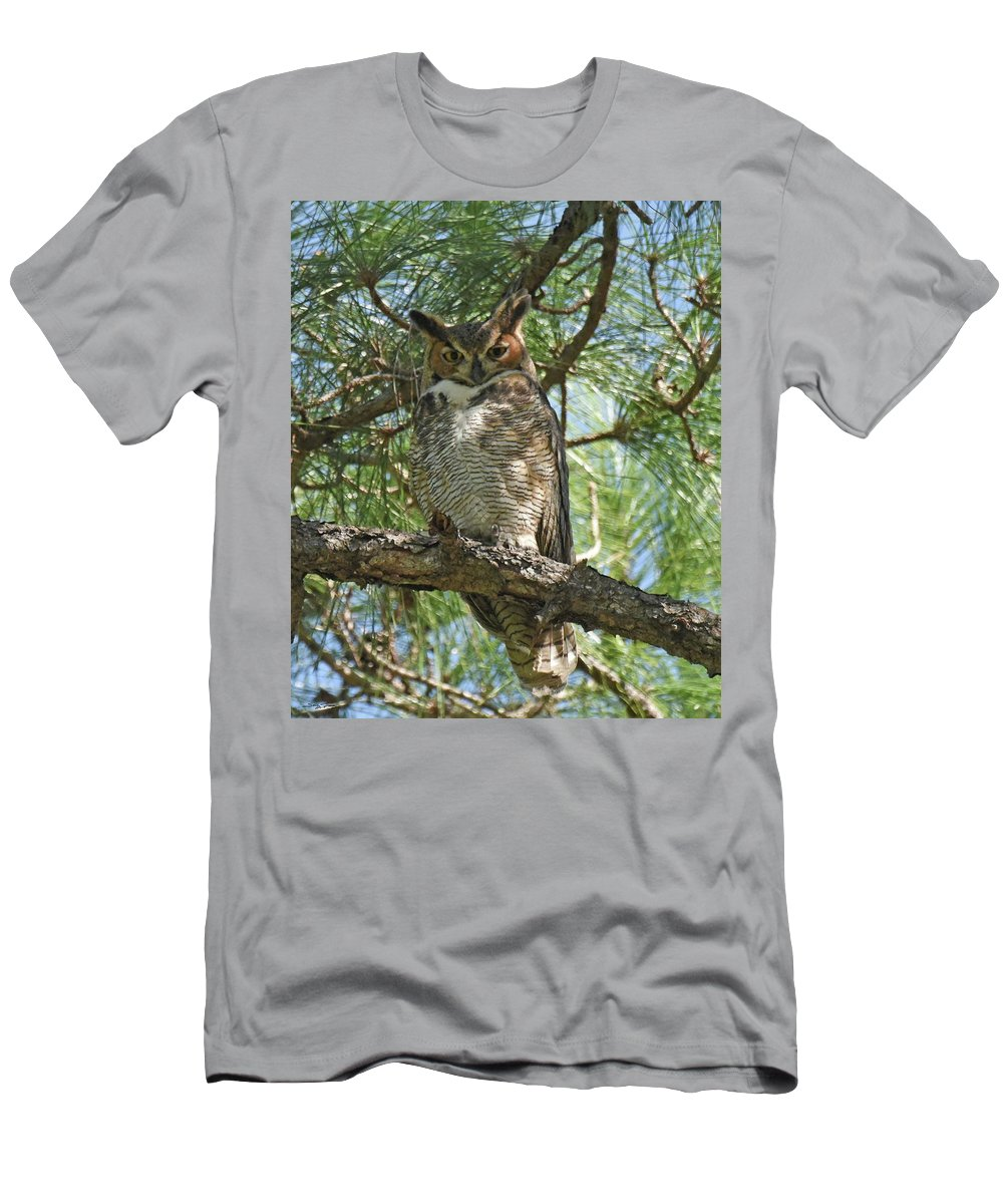 Great Horned Owl Men's T-Shirt (Athletic Fit) featuring the photograph I See You by Sally Sperry
