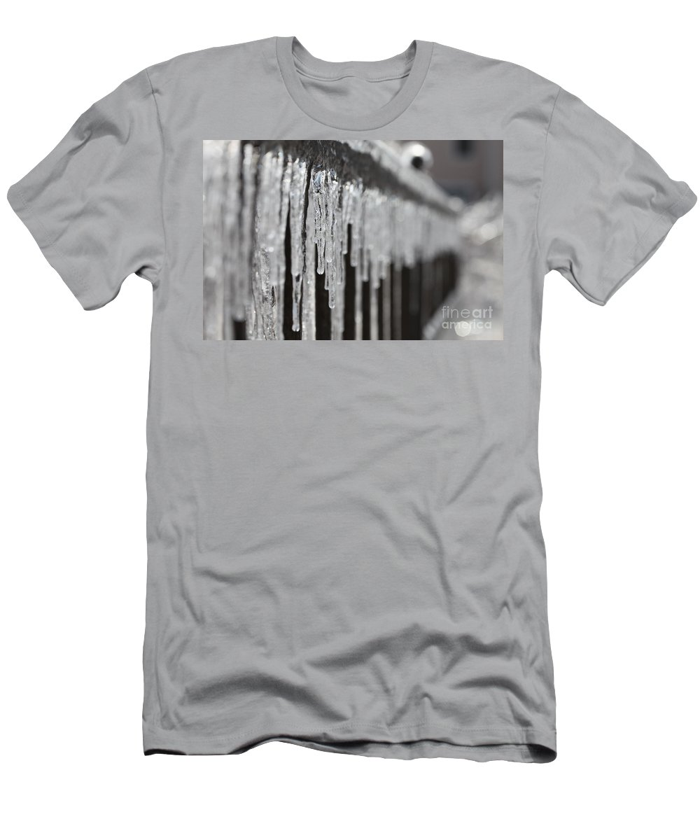 Icicles Men's T-Shirt (Athletic Fit) featuring the photograph Icicles At Attention by Nadine Rippelmeyer