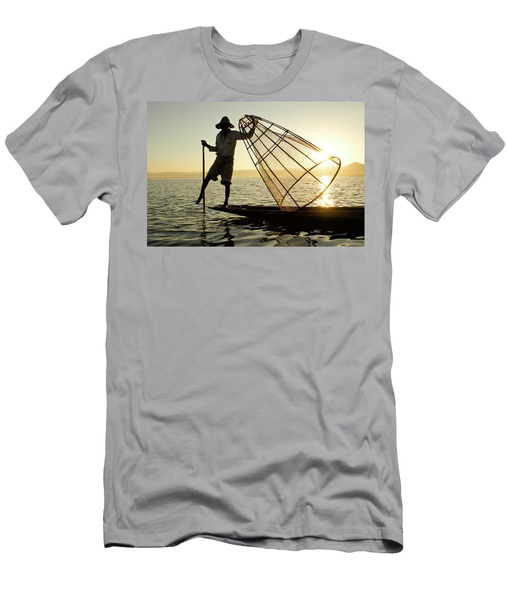 Asia Men's T-Shirt (Athletic Fit) featuring the photograph Inle Lake Fisherman by Michele Burgess