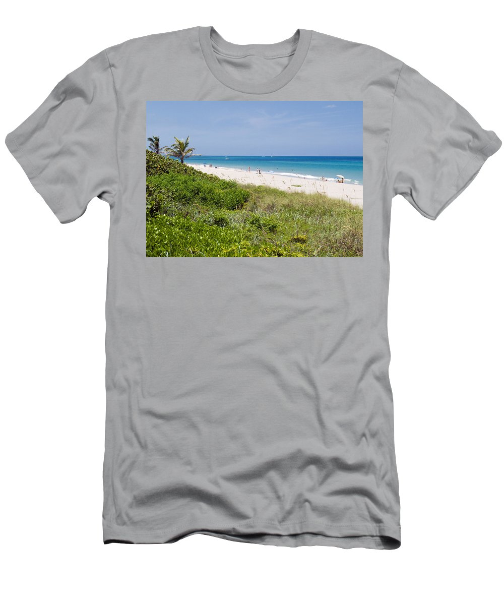 Juno; Florida; Loxahatchee; River; Jupiter; Inlet; Swim; Swimming; Children; Girl; Boy; Woman; Man; Men's T-Shirt (Athletic Fit) featuring the photograph Juno Beach In Florida by Allan Hughes