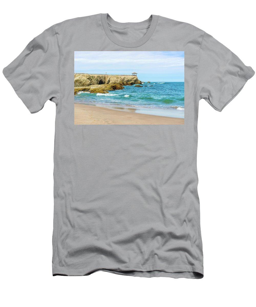 Beach Men's T-Shirt (Athletic Fit) featuring the photograph La Loberia Beach View In Salinas, Ecuador by Marek Poplawski
