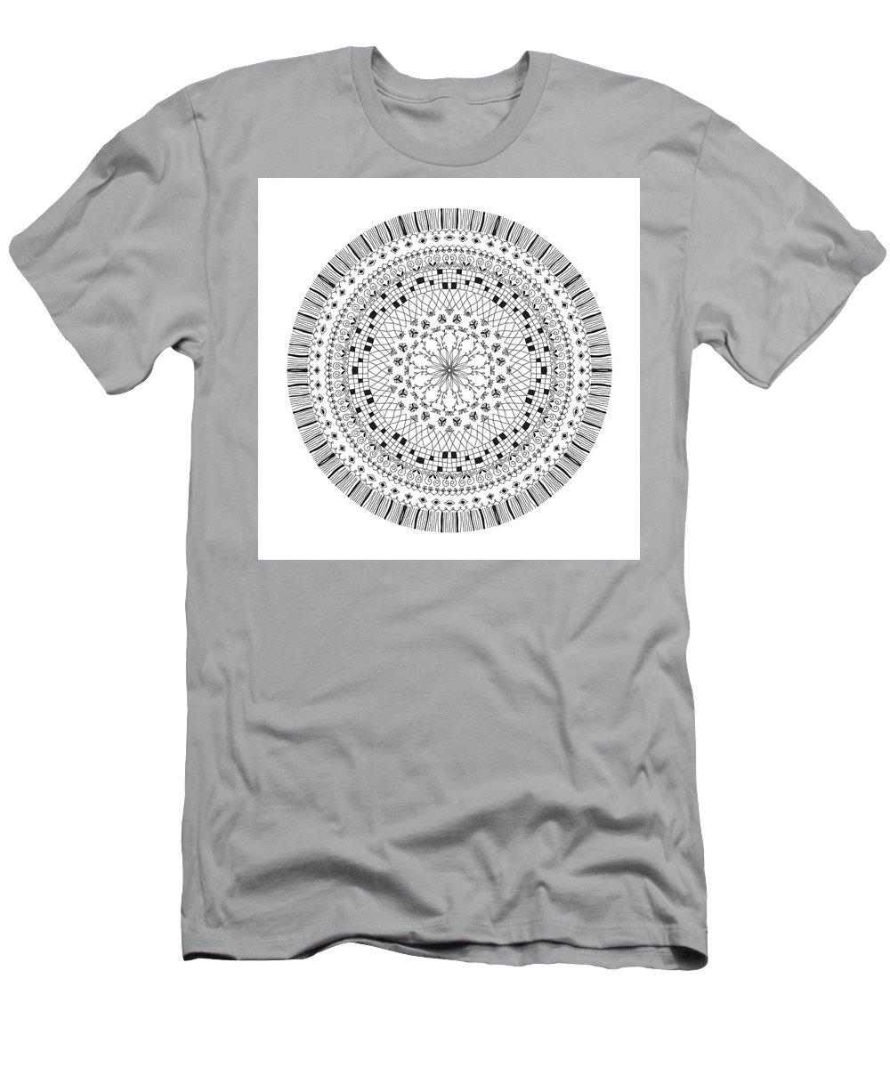 Art Men's T-Shirt (Athletic Fit) featuring the drawing Mandala by Chanitsirikarn Na Chiangmai