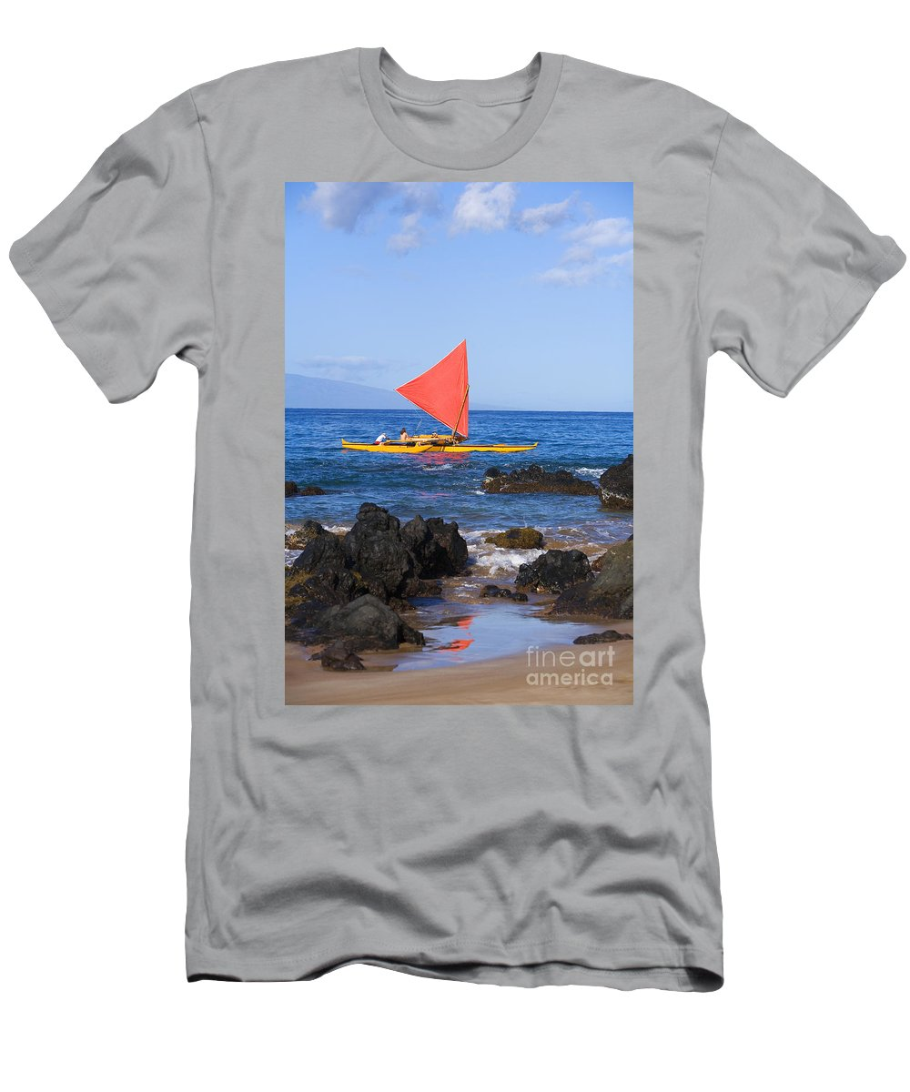 Aku Men's T-Shirt (Athletic Fit) featuring the photograph Maui Sailing Canoe by Ron Dahlquist - Printscapes