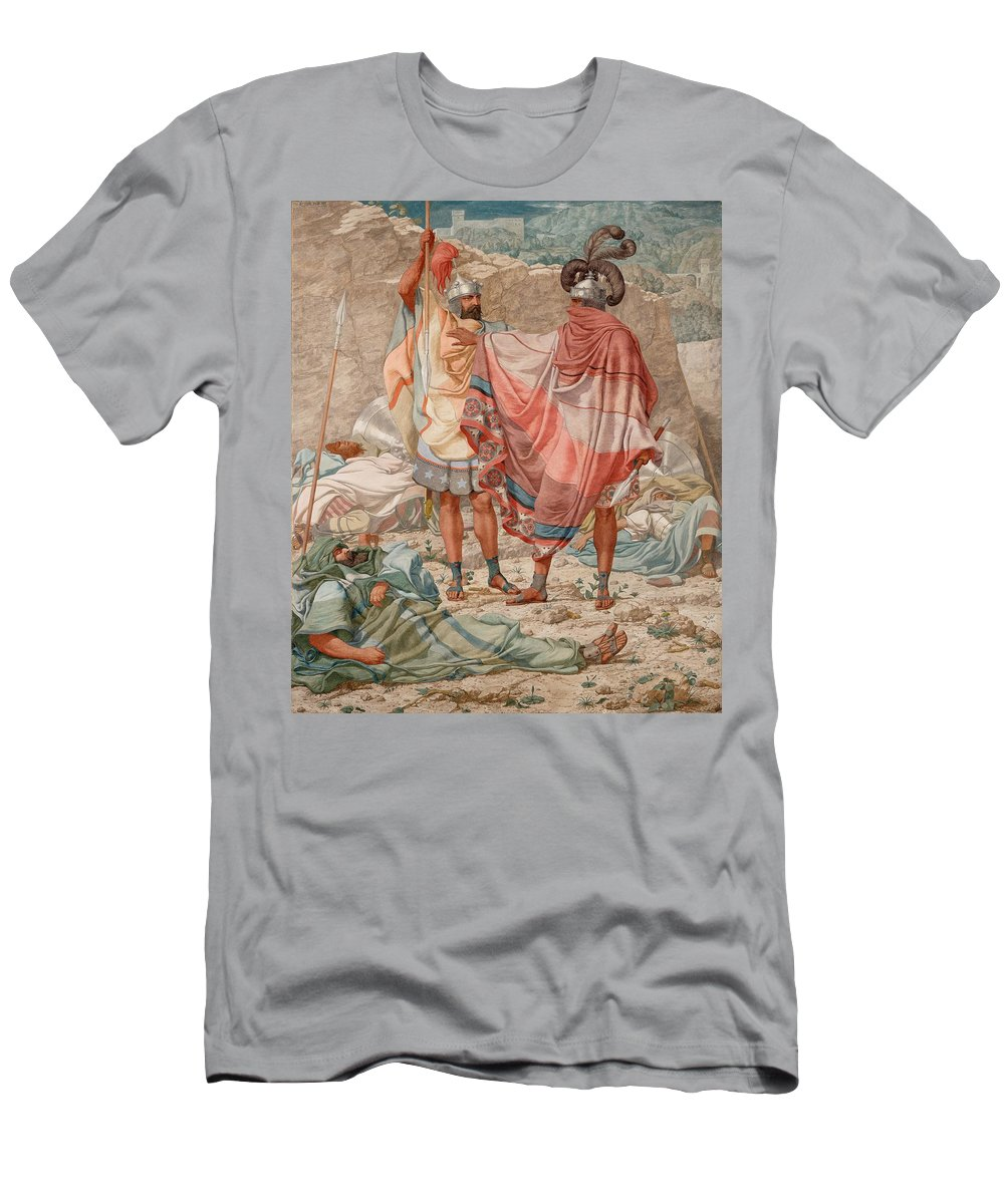 Painting Men's T-Shirt (Athletic Fit) featuring the painting Mercy - David Spareth Saul's Life by Mountain Dreams