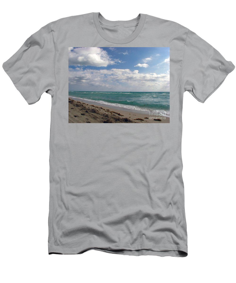 Miami Beach Men's T-Shirt (Athletic Fit) featuring the photograph Miami Beach by Amanda Barcon