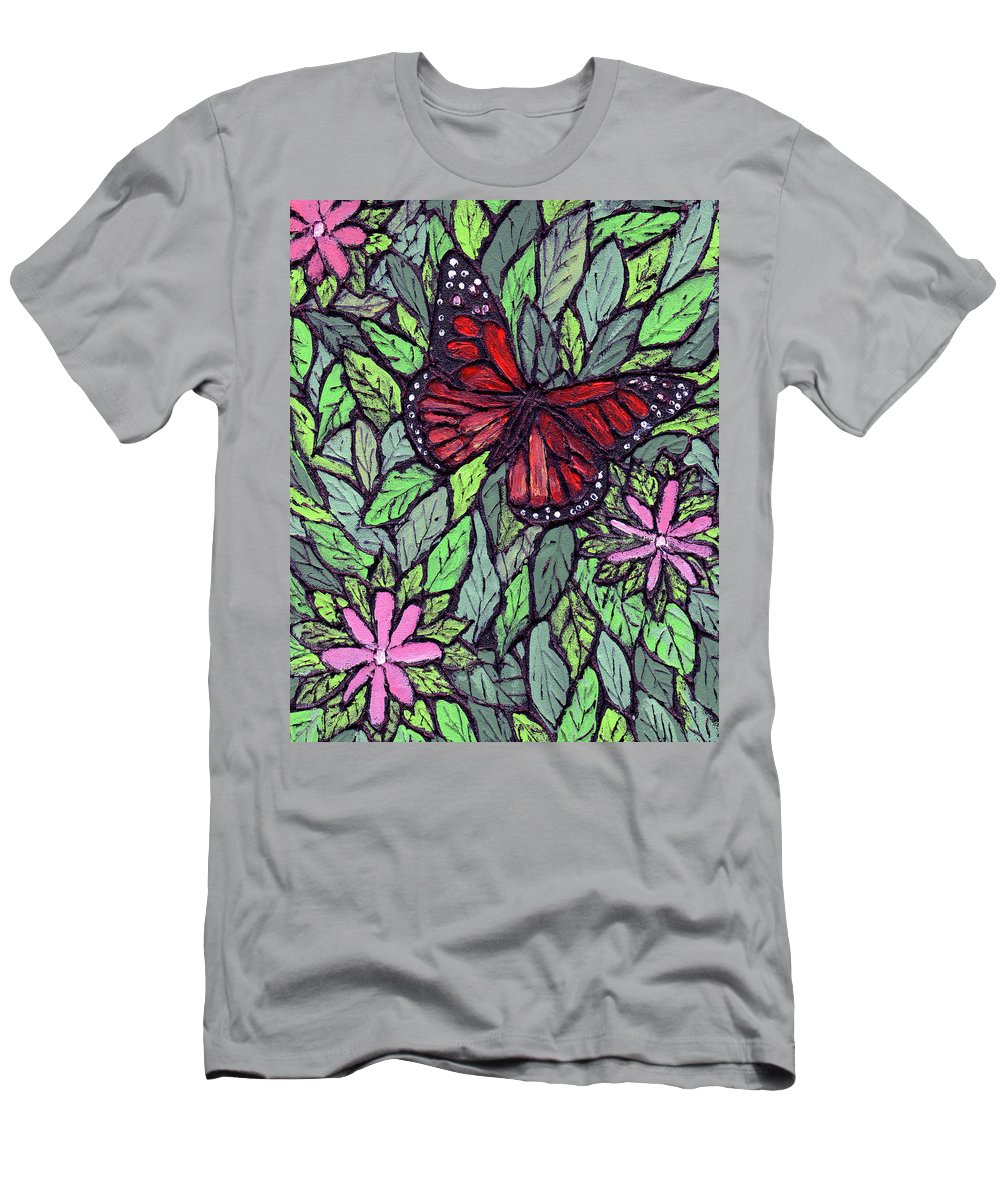 Monarch Men's T-Shirt (Athletic Fit) featuring the painting Monarch Butterfly by Wayne Potrafka
