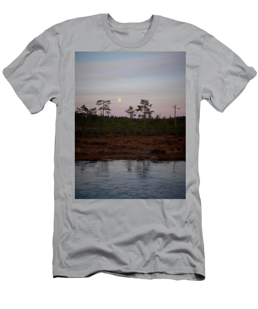 Lehtokukka Men's T-Shirt (Athletic Fit) featuring the photograph Moon Over Wetlands by Jouko Lehto