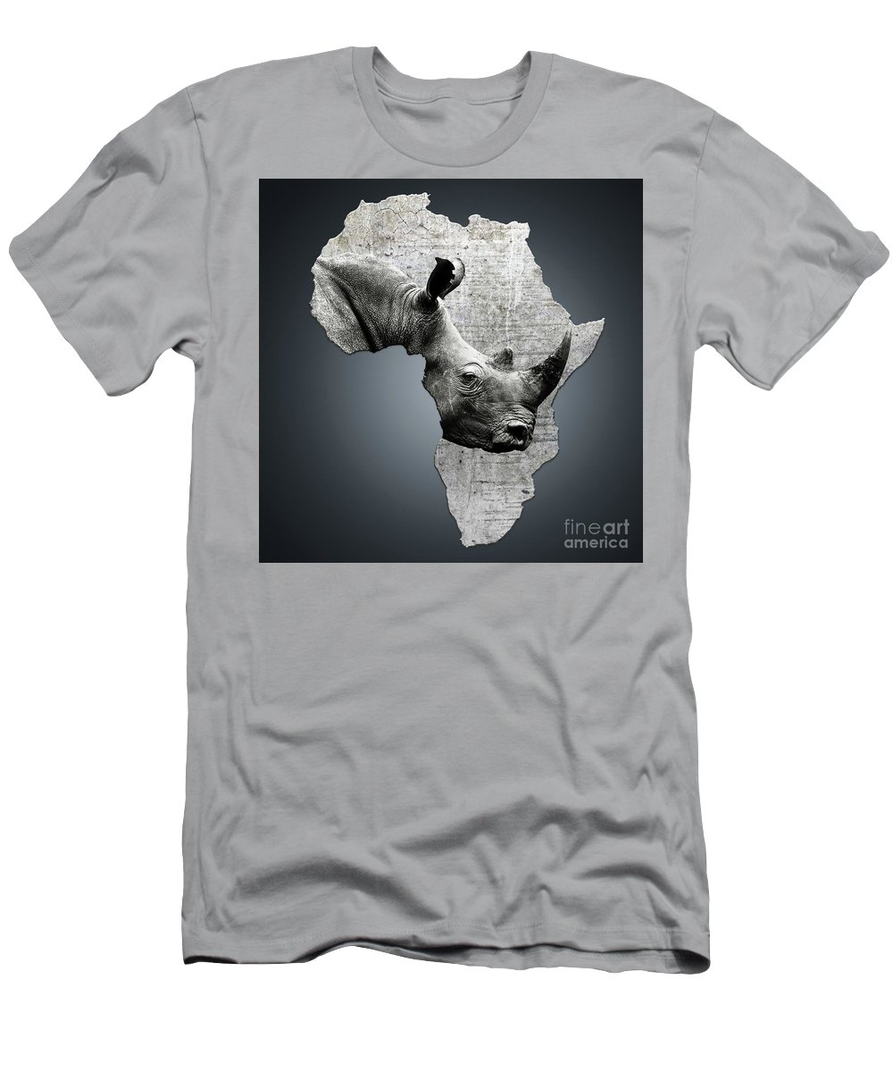 Africa Men's T-Shirt (Athletic Fit) featuring the digital art Mother Africa With A Rhino by Etienne Outram