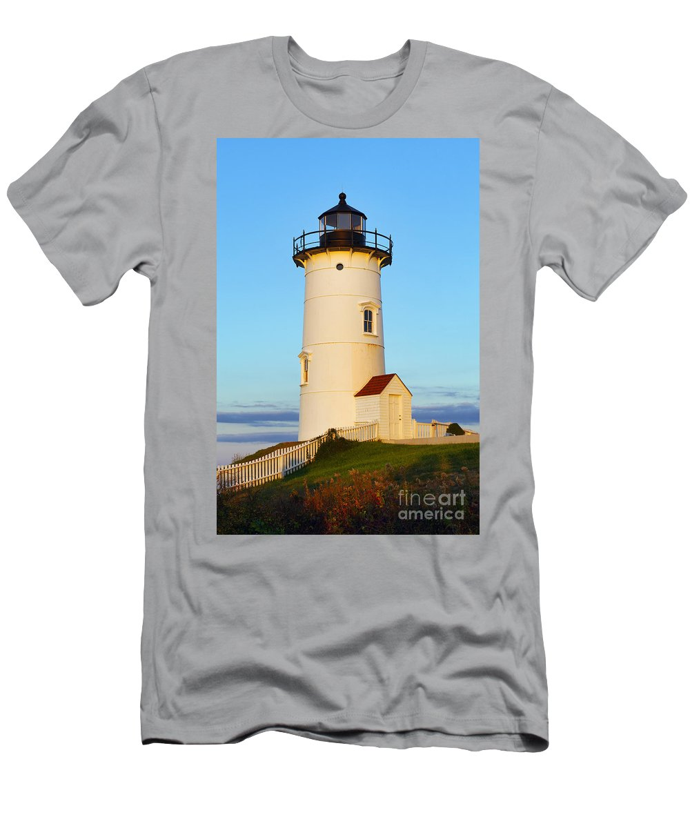 Cape Cod Men's T-Shirt (Athletic Fit) featuring the photograph Nobska Point Light by John Greim