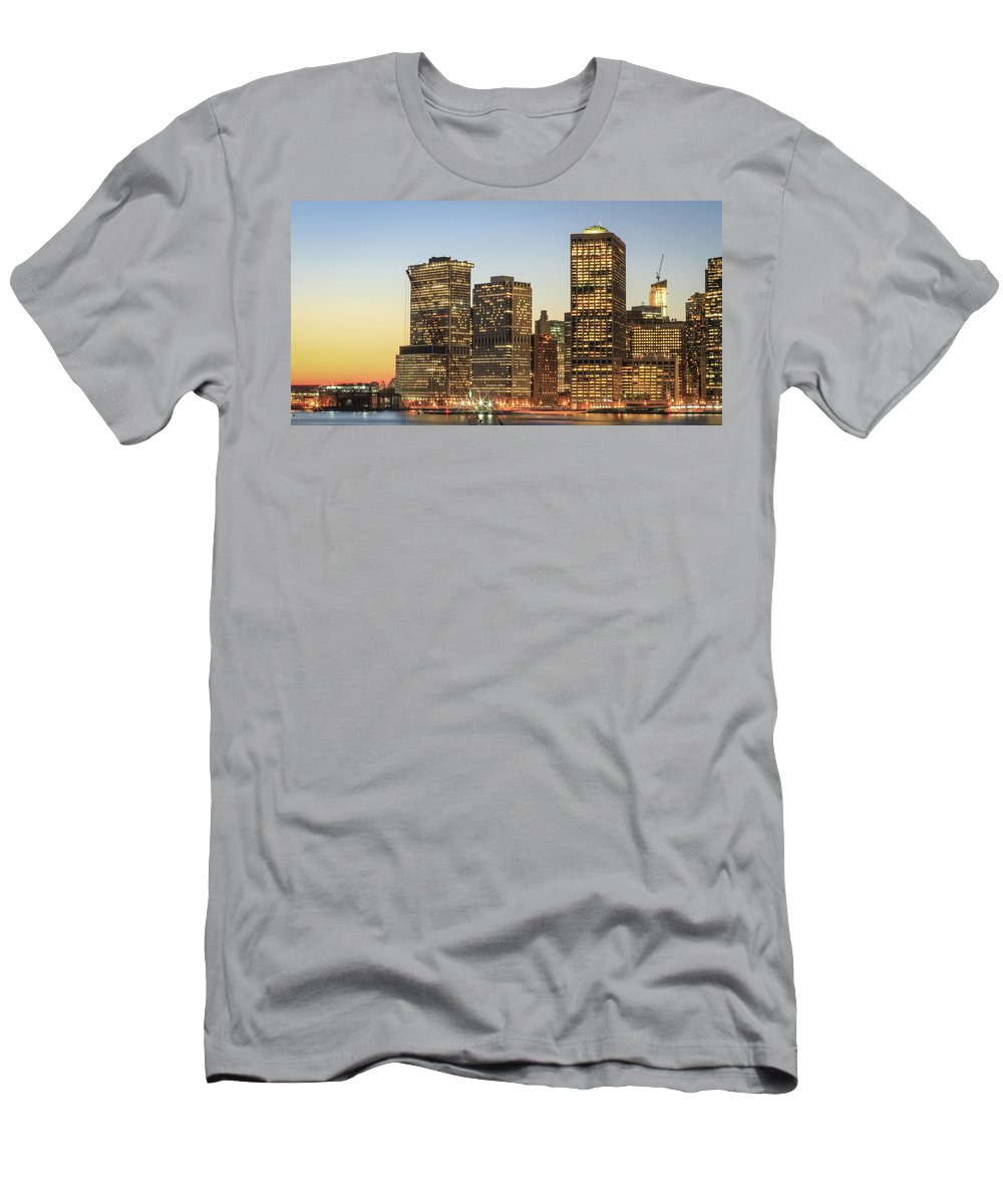 Downtown Men's T-Shirt (Athletic Fit) featuring the photograph Ny Downtown by Silvia Bruno