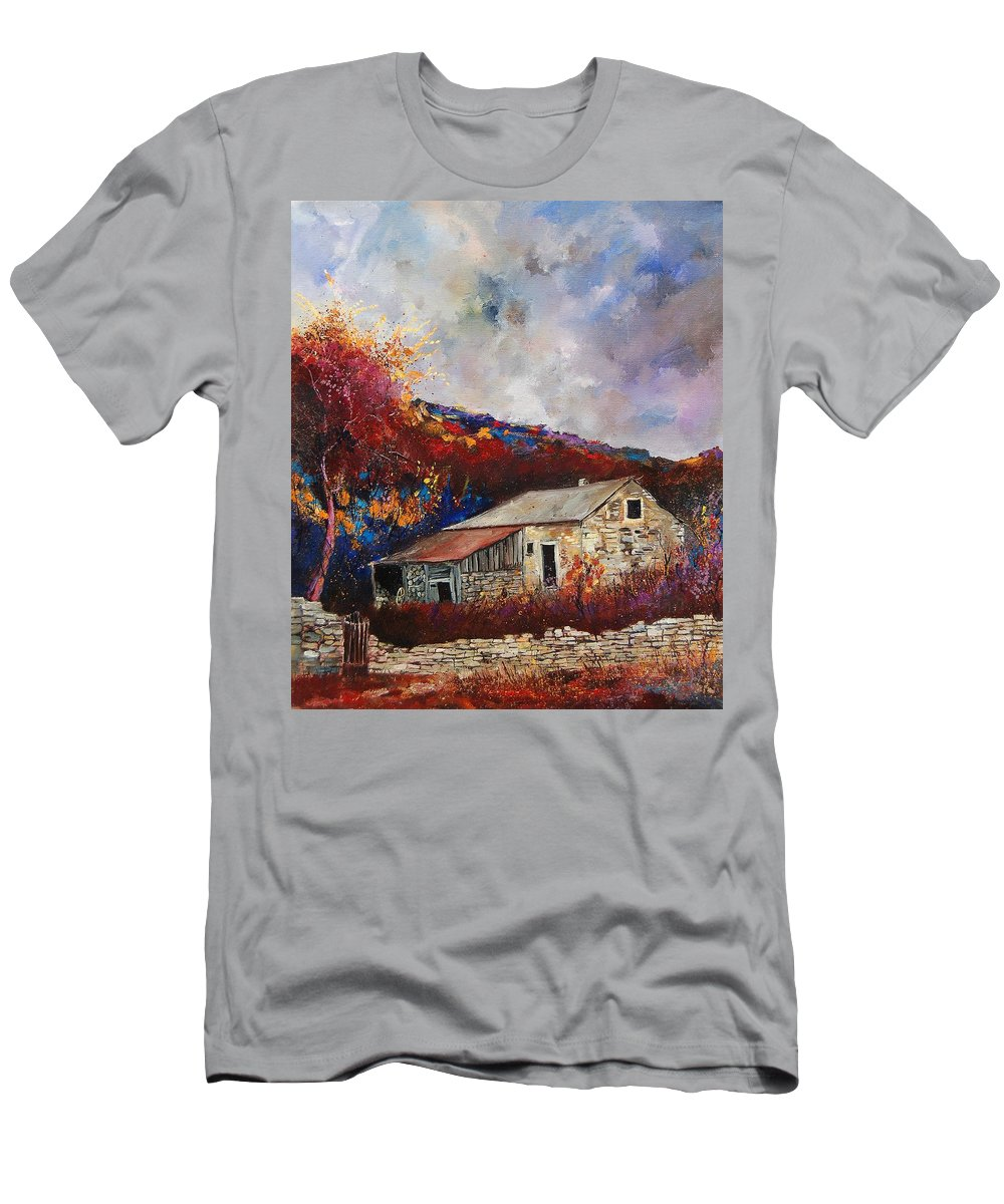 Village T-Shirt featuring the painting Old barn by Pol Ledent