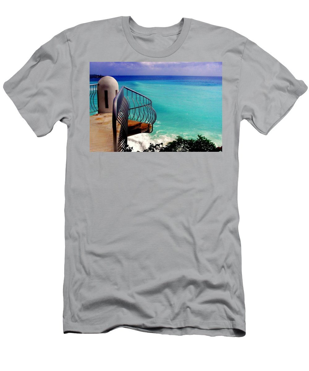 Seascapes Men's T-Shirt (Athletic Fit) featuring the photograph On The Edge by Karen Wiles