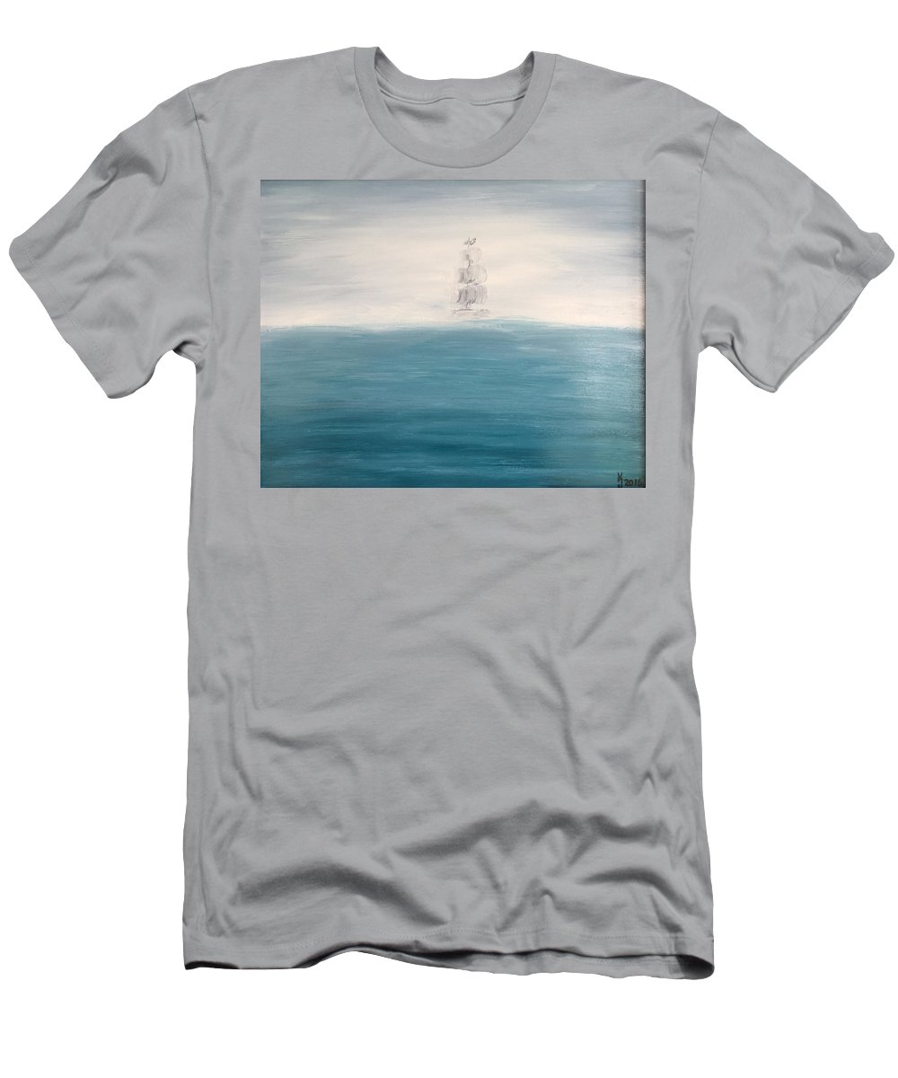 Seascape Men's T-Shirt (Athletic Fit) featuring the painting Out Of The Fog by KJ Burk