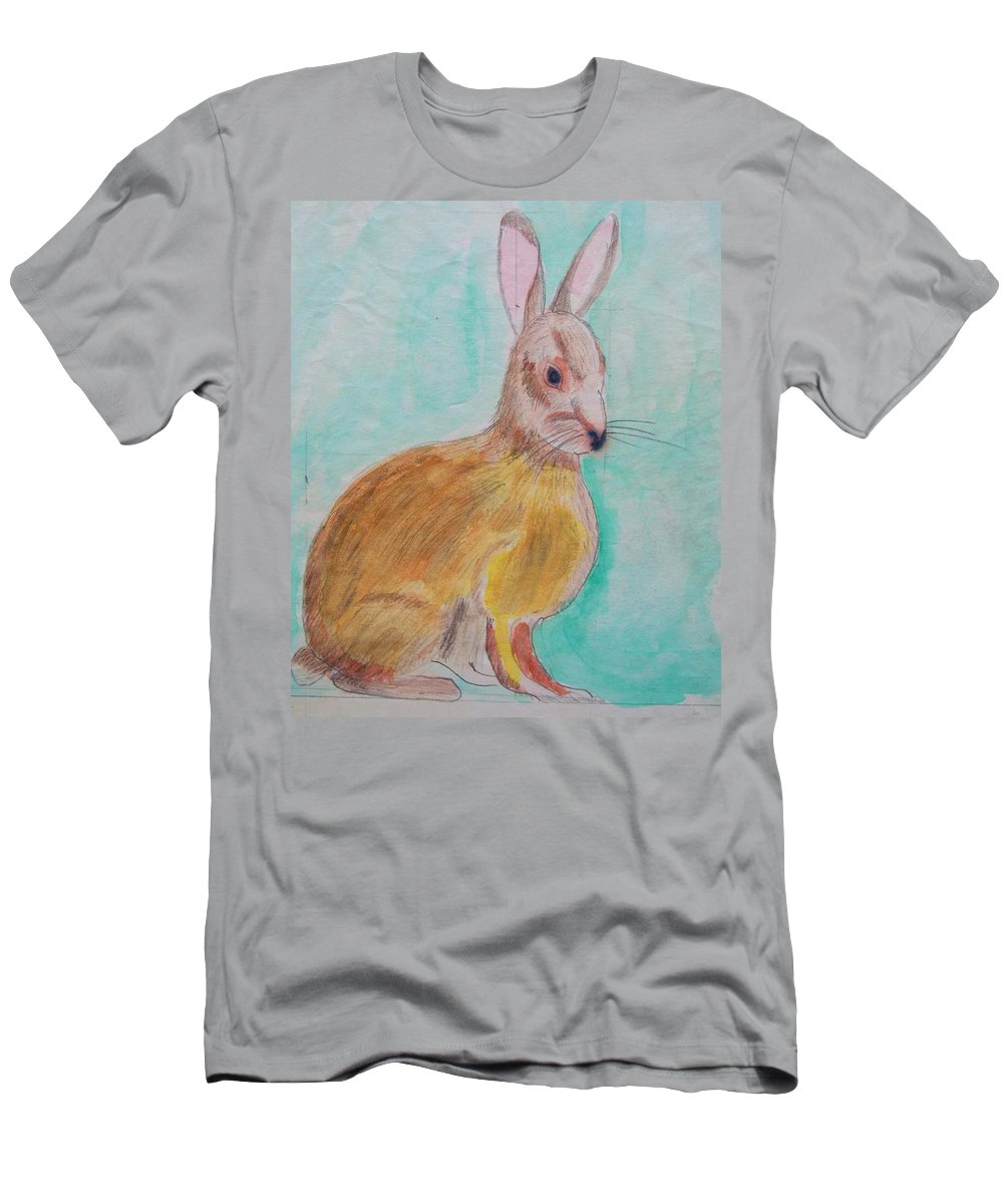 Rabbit Men's T-Shirt (Athletic Fit) featuring the painting Rabbit Illustration by Eric Schiabor