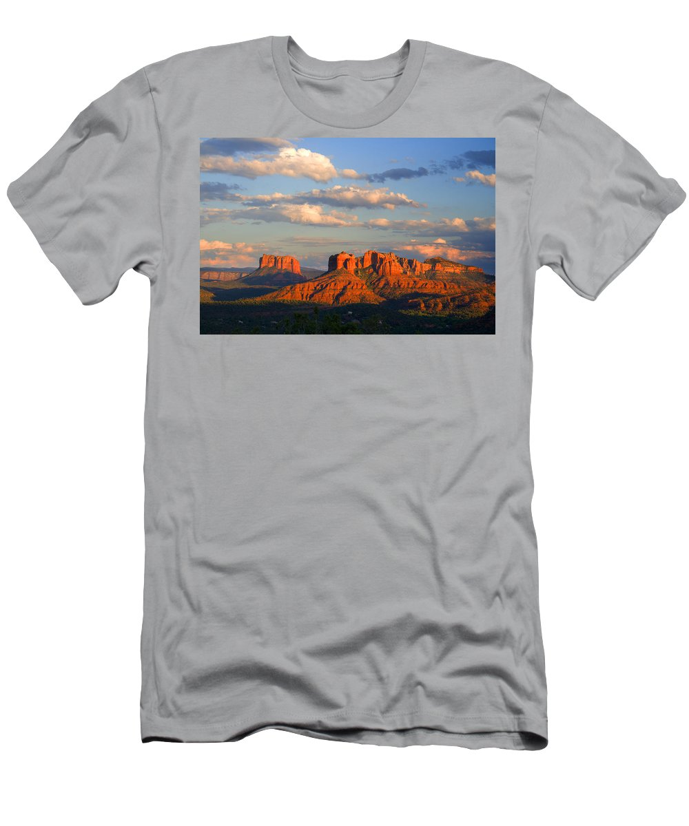 Red Rocks Men's T-Shirt (Athletic Fit) featuring the photograph Red Rocks Sunset by Alexey Stiop