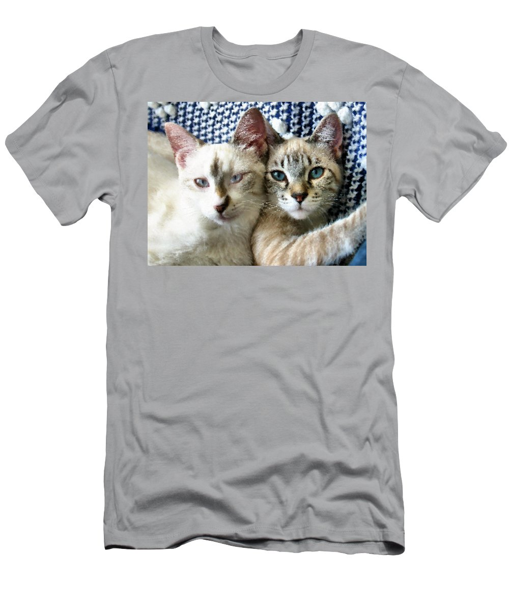 Cat Men's T-Shirt (Athletic Fit) featuring the photograph Rescued And Spoiled by Kristin Elmquist