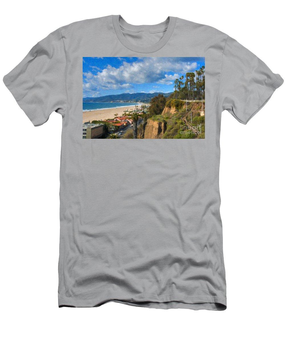 Santa Monica Men's T-Shirt (Athletic Fit) featuring the photograph Santa Monica Ca Steps Palisades Park Bluffs by David Zanzinger