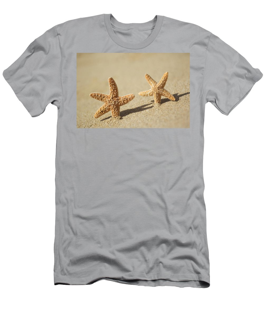 Afternoon Men's T-Shirt (Athletic Fit) featuring the photograph Seastars On Beach by Mary Van de Ven - Printscapes
