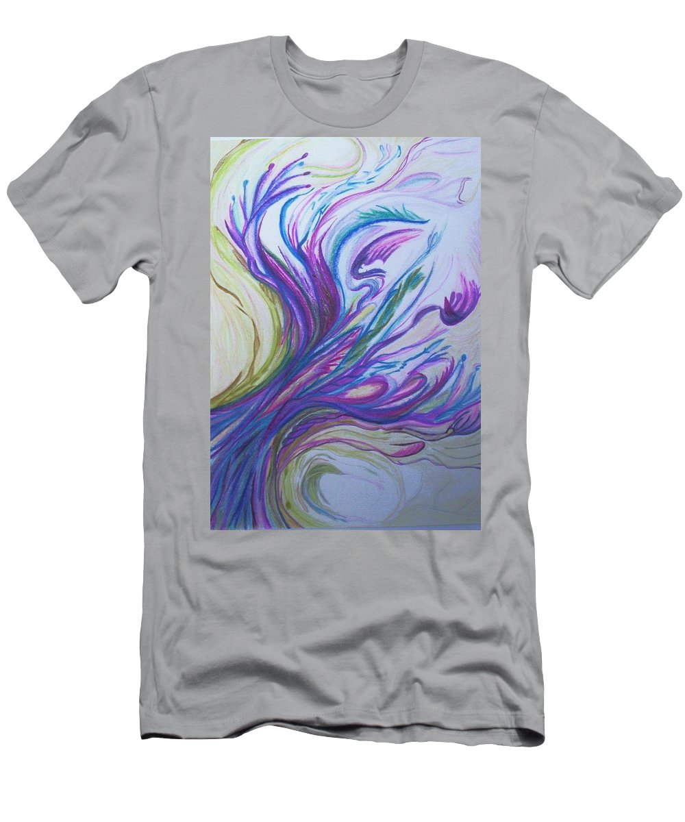 Abstract Men's T-Shirt (Athletic Fit) featuring the painting Seaweedy by Suzanne Udell Levinger