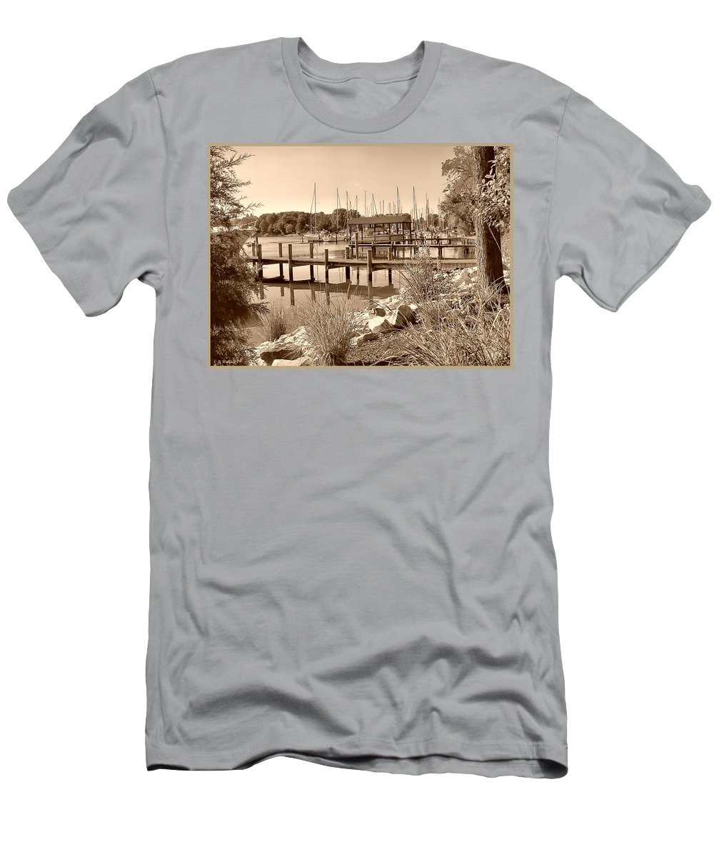 2d Men's T-Shirt (Athletic Fit) featuring the photograph Sepia Waterscape by Brian Wallace