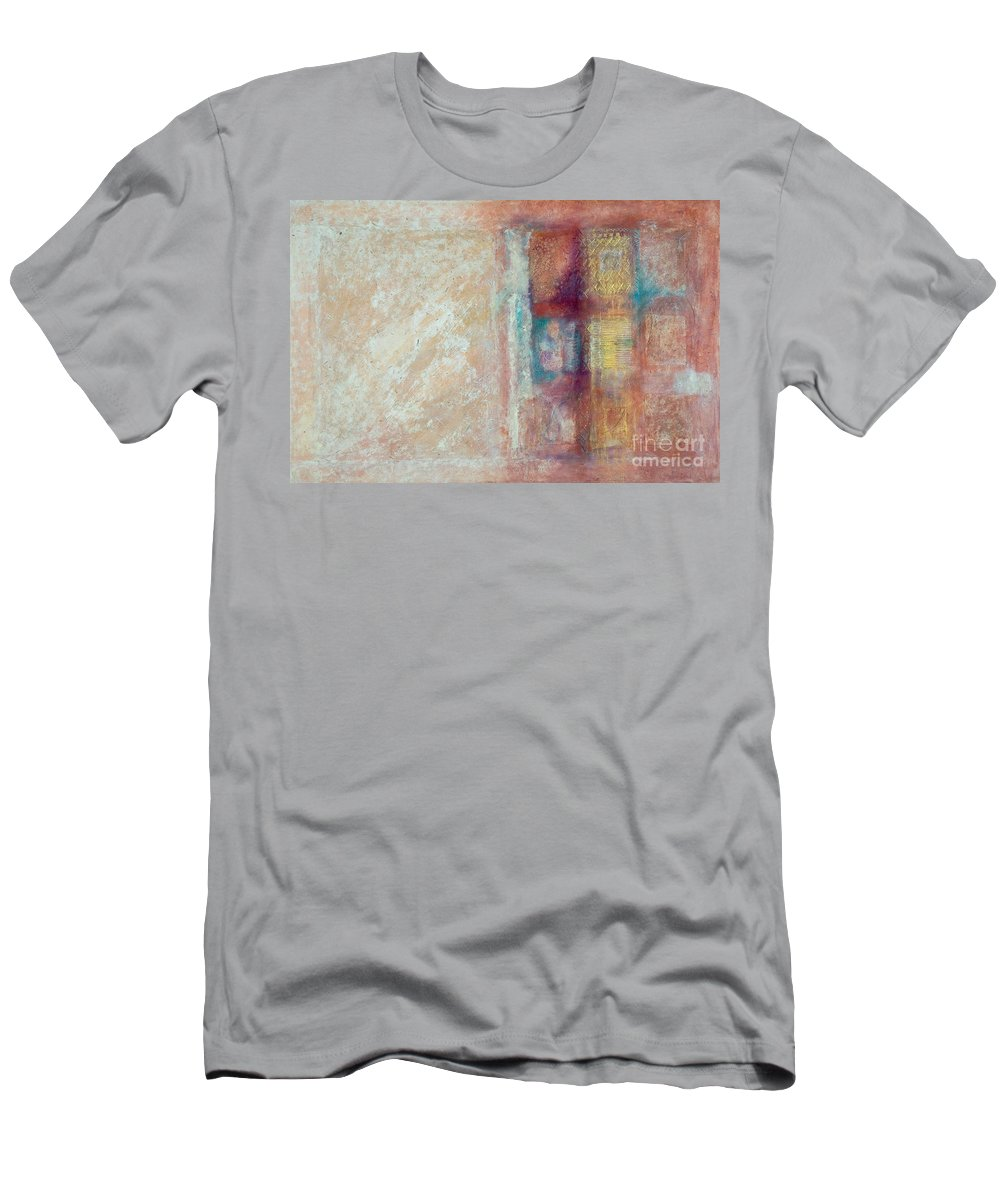 Mixed-media T-Shirt featuring the painting Spirit Matter Cosmos by Kerryn Madsen-Pietsch