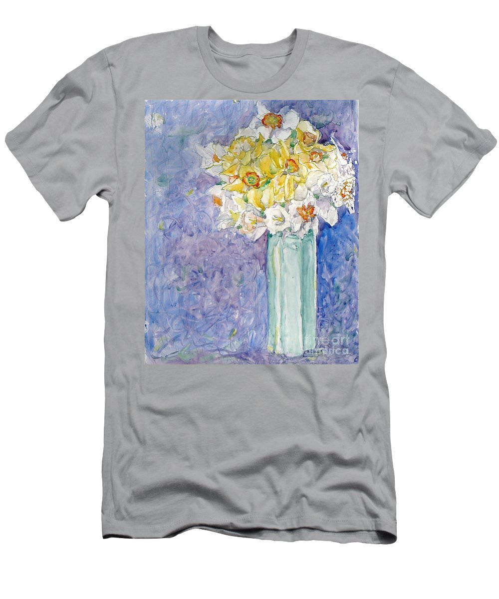 Watercolor Men's T-Shirt (Athletic Fit) featuring the painting Spring Blossoms by Jan Bennicoff