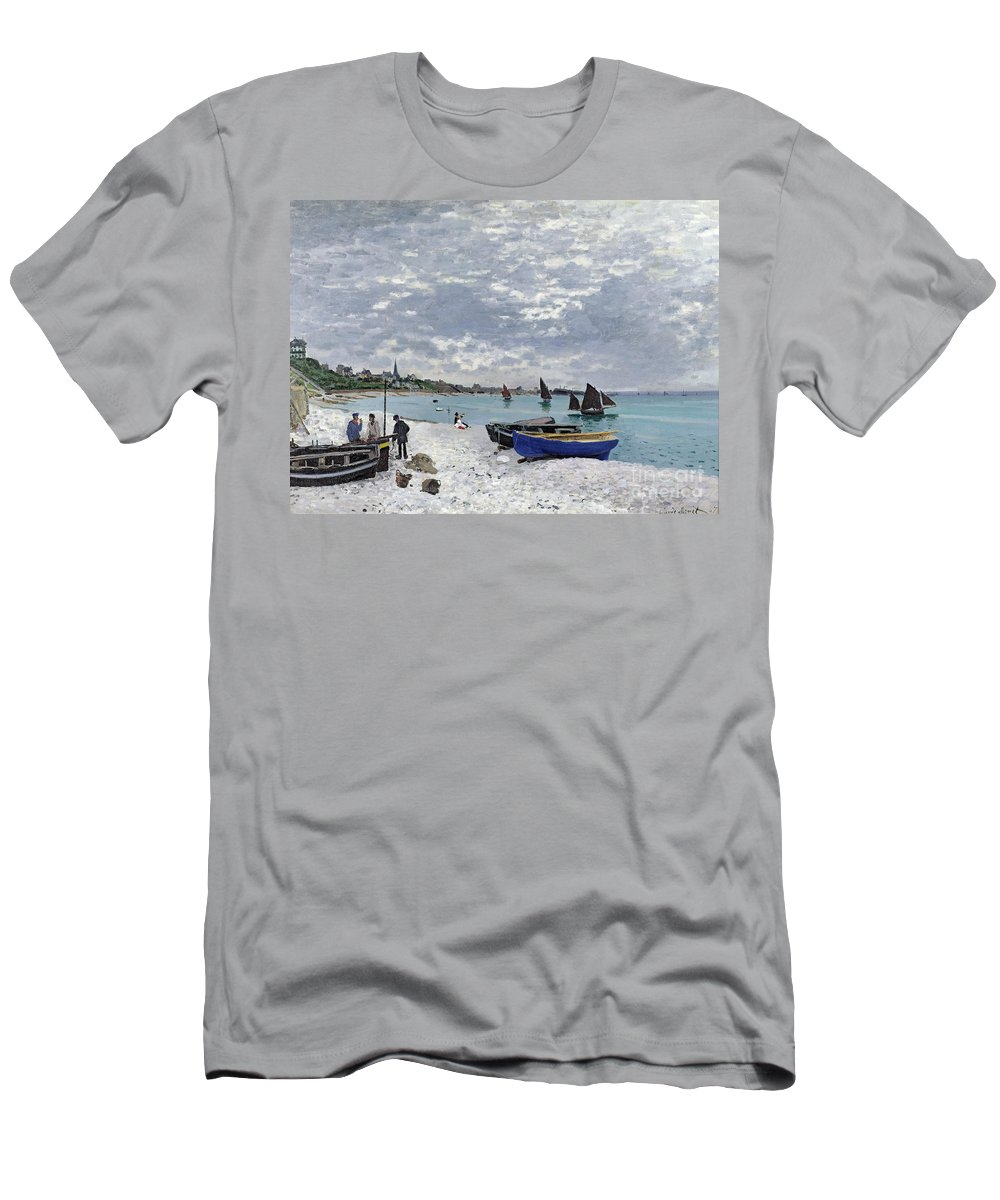 Coastal;french;rowing Boat;sailing;sainte Adresse; Boats T-Shirt featuring the painting The Beach At Sainte Adresse by Claude Monet