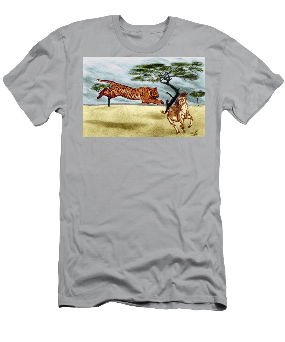 The Lunge Men's T-Shirt (Athletic Fit) featuring the drawing The Lunge by Peter Piatt