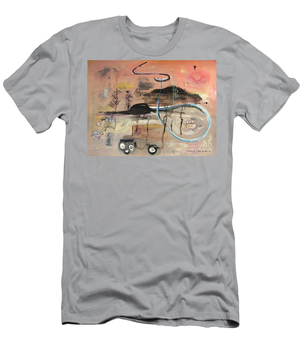 Acrylic Paper Canvas Abstract Contemporary Landscape Dusk Twilight Countryside Men's T-Shirt (Athletic Fit) featuring the painting The Tempo Of A Day by Seon-Jeong Kim